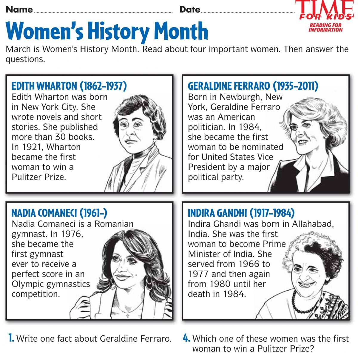 Women S History Month Printables Time For Kids Diy