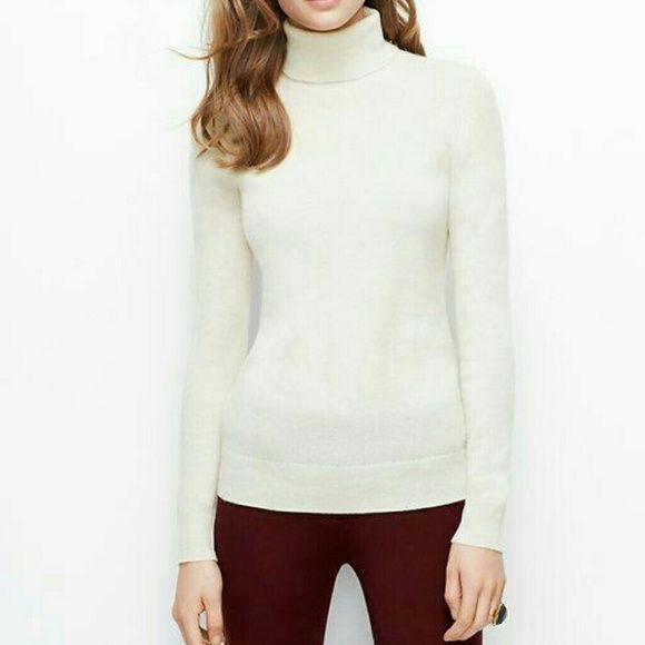 Ann taylor white turtleneck White sweater. Offers welcome. Rest assured that your purchased items come from a clean and pet free home. Check out my love notes in my profile! 💕 Ann Taylor Tops