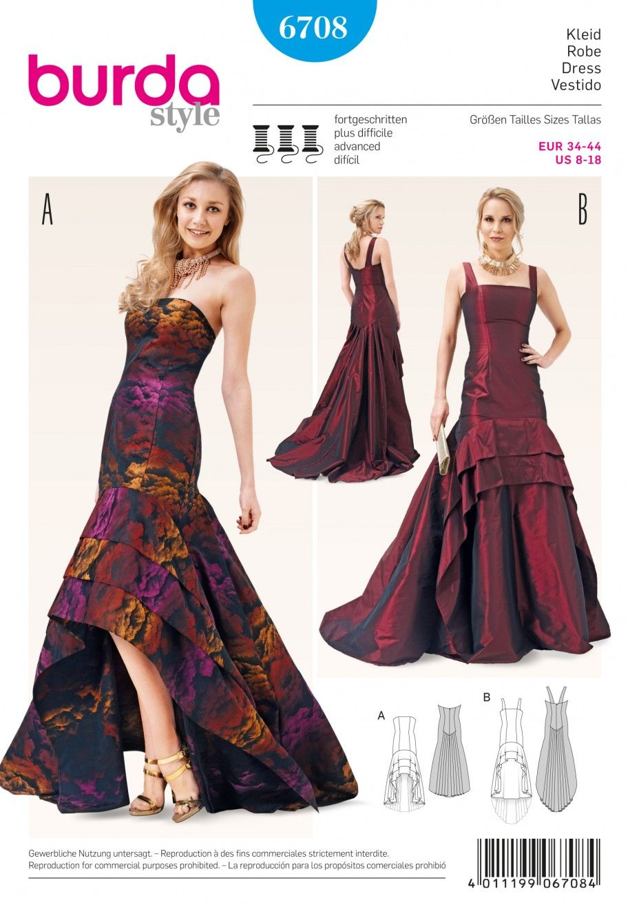 Burda B6708 Misses\' Evening Gown Sewing Pattern | Dress Patterns ...