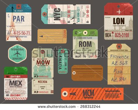 Vintage Baggage Tags - Vintage luggage paper tags for flights to ...