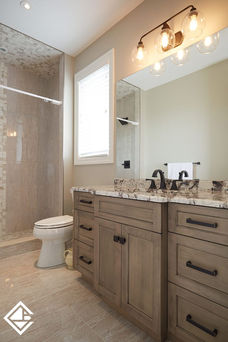 What A Warm Colour Scheme This Bathroom Has Gorgeous Granite Counter Top With Grey Cabin Granite Bathroom Countertops Bathroom Cabinet Colors Granite Bathroom
