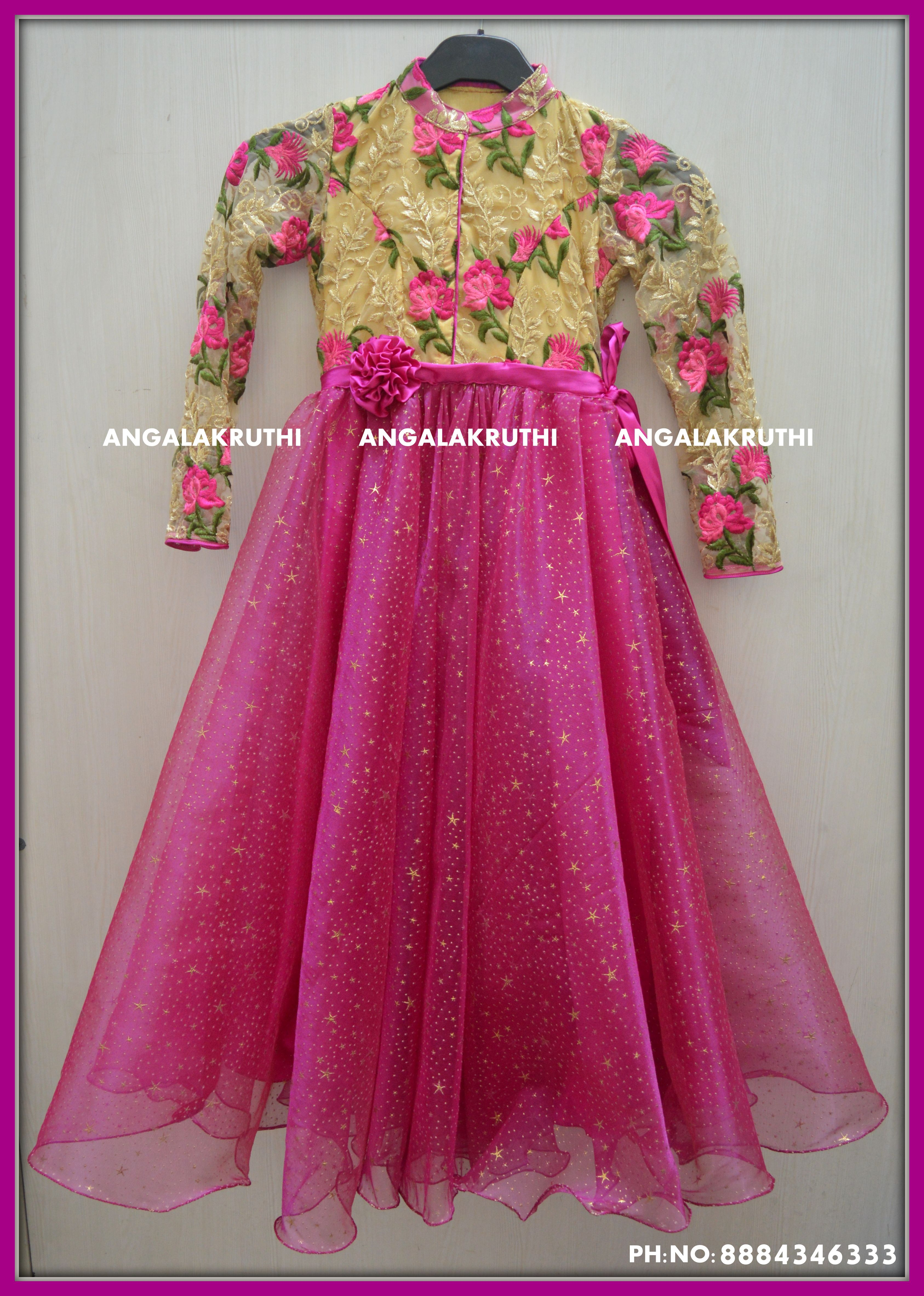 0c7fe957b9d #kids frock with floral and pink designs by Angalakruthi #designer kids  frock by Angalakruthi -Bangalore india #Custom designer boutique with online  order ...