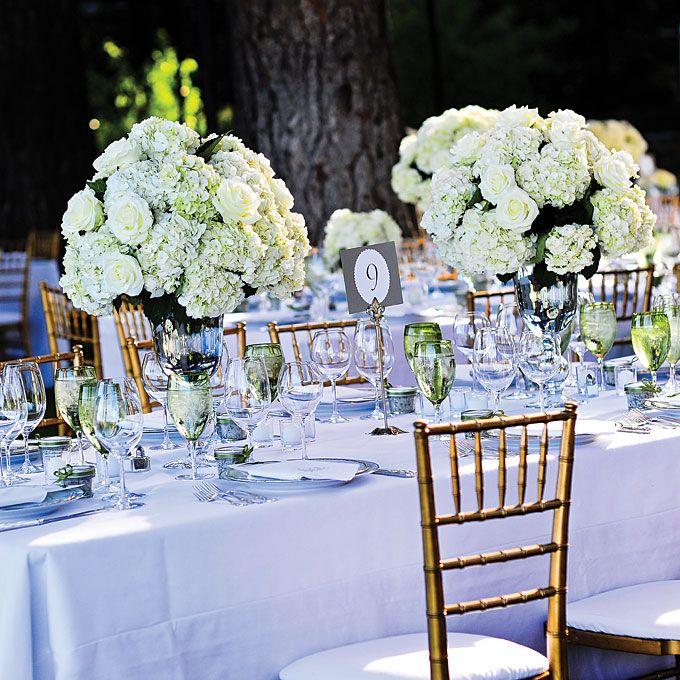 White Hydrangea and Rose Centerpieces | Hydrangea, Rose ...