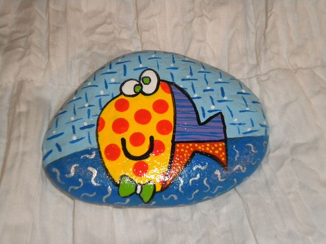 A happppppppy fish painted rock