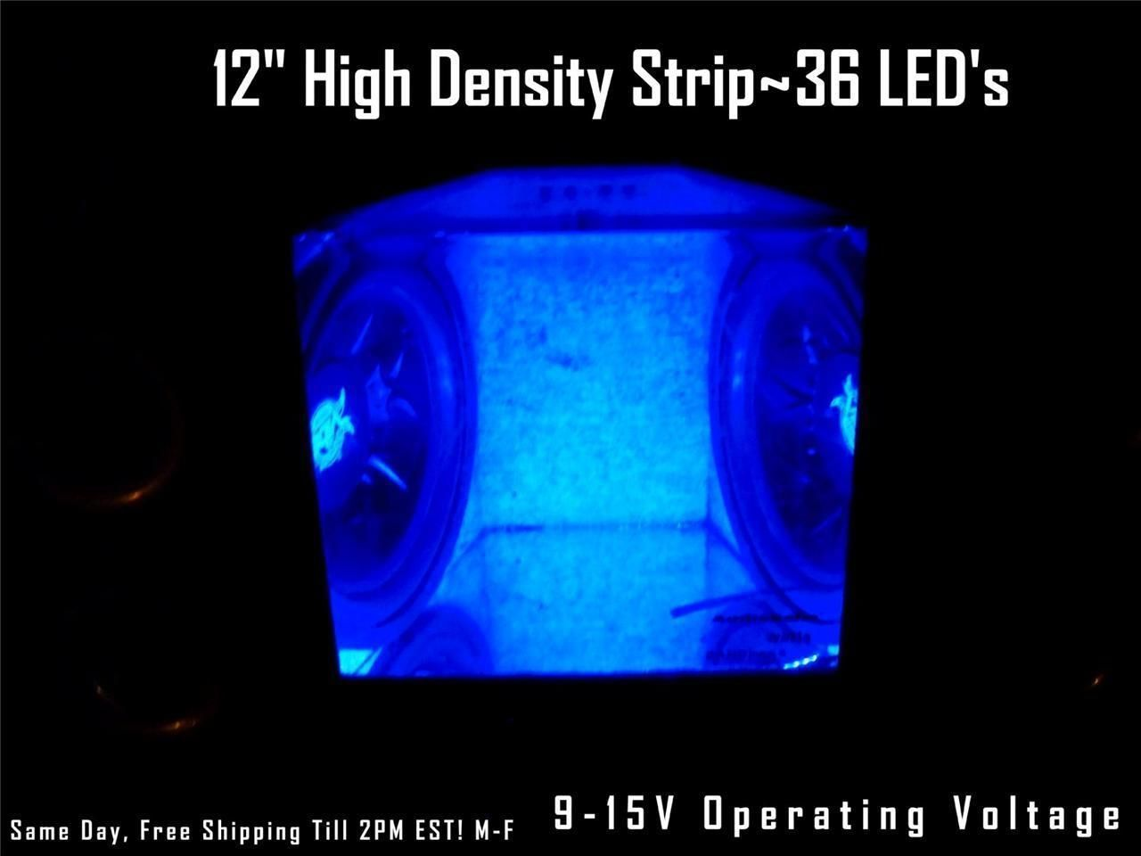 """12/""""  Blue LED Strip Speaker Box-Amp-Interior Lighting 36 LED/'s Waterproof"""