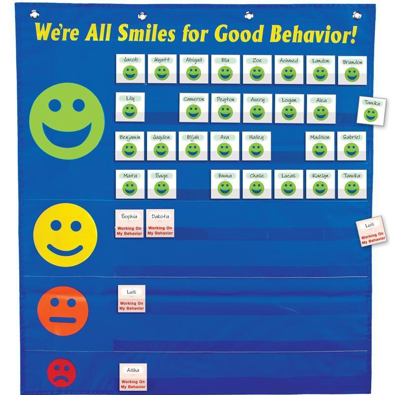 color chart for school: Were all smiles for good behavior pocket chart 2nd grade