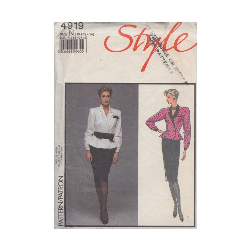Peplum Top and Straight Skirt Womens Vintage 80s Style Sewing Pattern 4919 Size 10- 12- 14 Bust 32 1/2- 34- 36 Tapered Waist // Fitted Top
