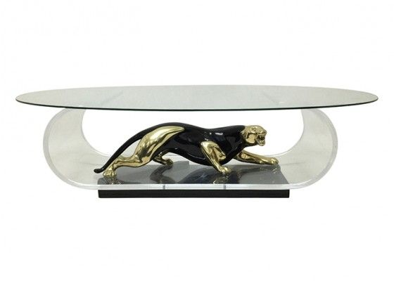 Gold and Black Panther Coffee Table, 1970s for sale at Pamono