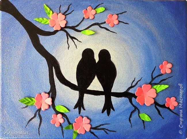 How To Paint Birds On The Branch Simple Craft Ideas Birds Painting Bird Painting Acrylic Acrylic Painting Flowers