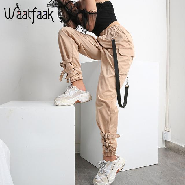 Pants Women Cloth Chain Buckle Pantalon Khaki Pocket Long Casual Korean Pants Pants For Women Harem Pants Women Cargo Pants Outfit