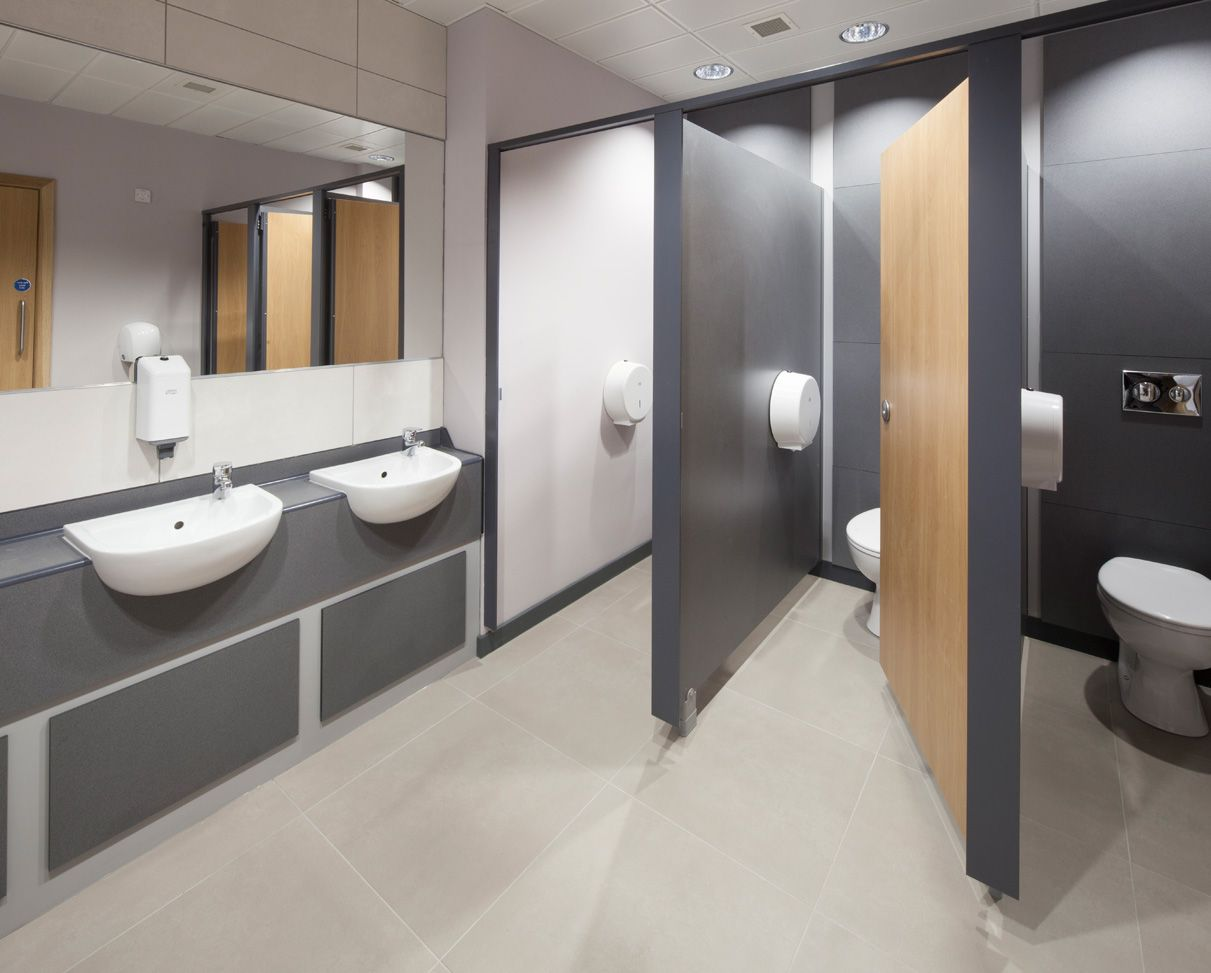 Commercial Bathroom And Toilets. Sinks Cubical Ideas. Office Wc. Featuring Light Floor Tiles