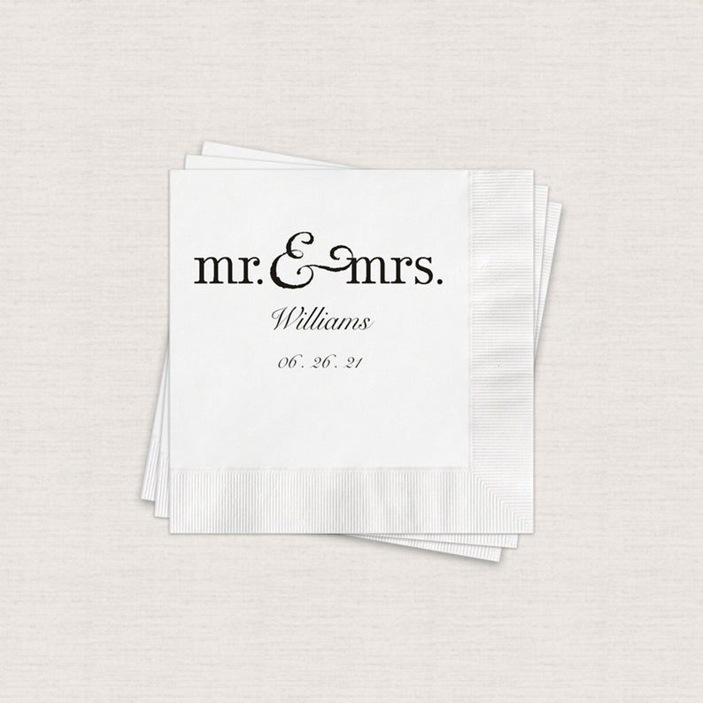 Personalized Wedding Napkins Beverage Napkins For Wedding White Cocktail Napkins 3ply Paper 4 75 X 4 75 Print Color Options Available Wedding Napkins Personalized Wedding Napkins Personalized Wedding