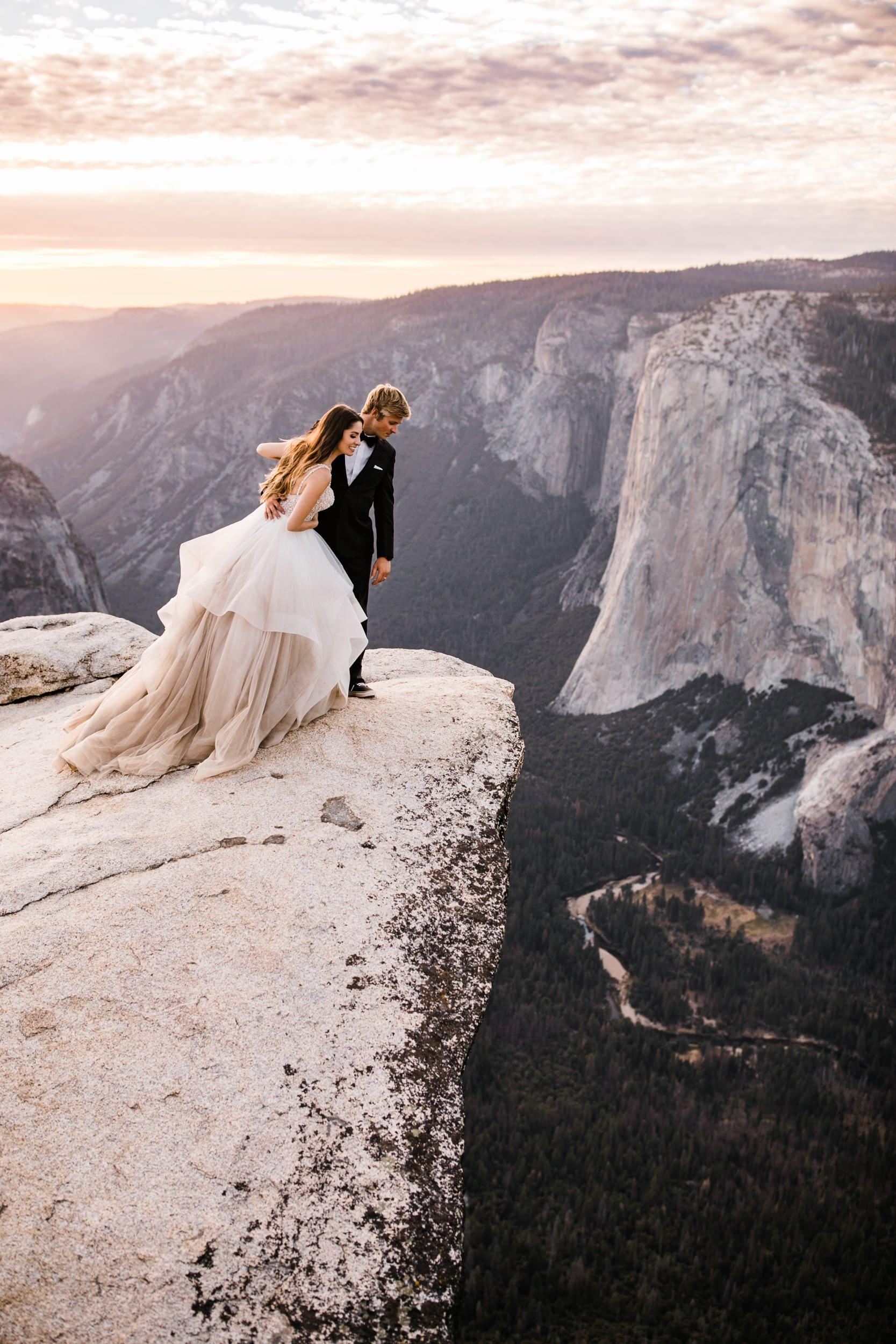 Yosemite National Park Intimate Wedding At Glacier Point Hike To Taft Point Adventure Elopement Photographer Adventure Wedding Elopement Photographers I Elope Wedding Yosemite Wedding Adventure Wedding