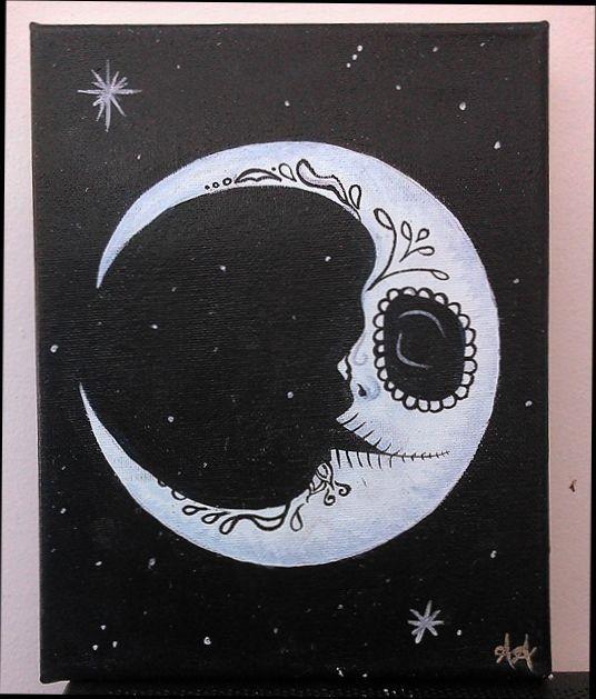 Sugar Skull Moon Painting   Moon painting, Sugar skulls ...