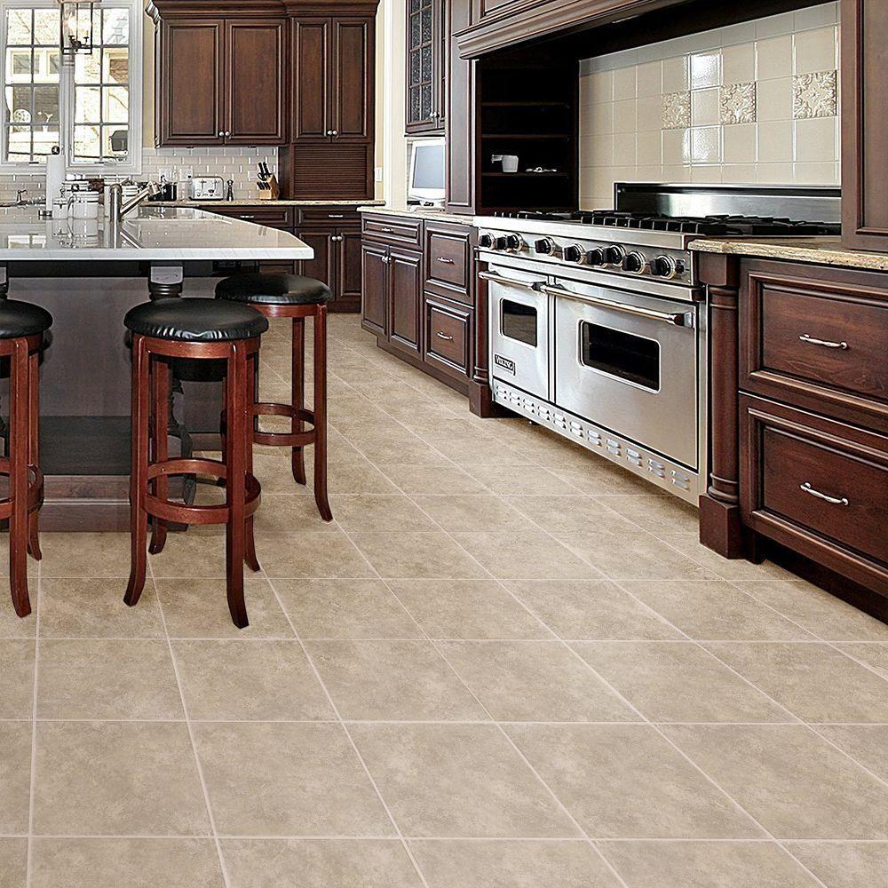 Kitchen Vinyl Tile Flooring Trafficmaster Allure 16 In X 32 In Ceramique Dawn Resilient