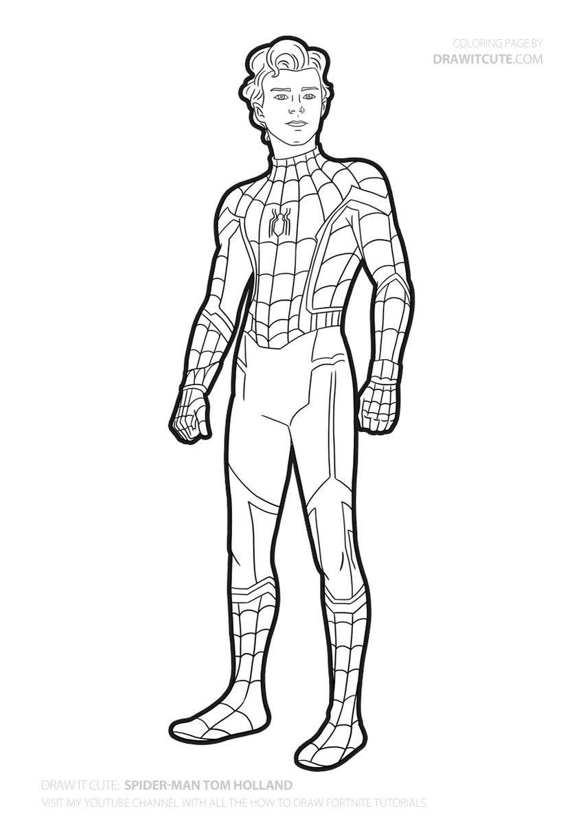 Tom Holland As Spider Man Farfromhome Spidermanfarfromhome Spiderman Coloringpages Fanart Spiderman Art Sketch Avengers Coloring Pages Spiderman Art