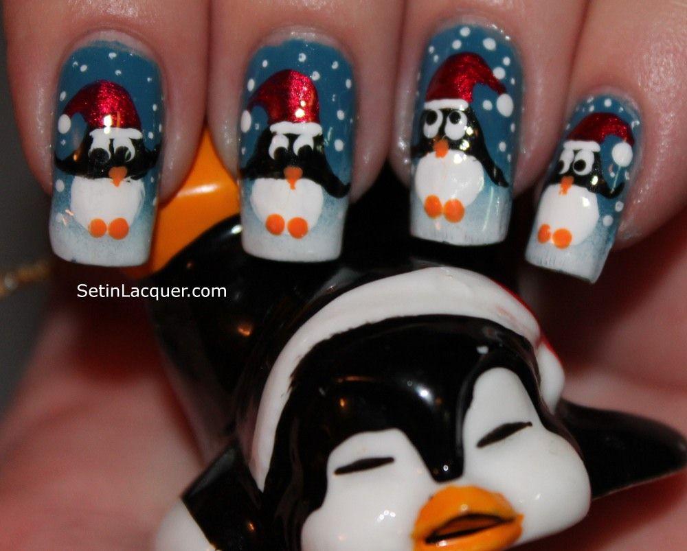 Holiday penguin nail art : for my Jessika   Nails ideas ...