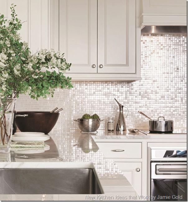contemporary kitchen shimmer backsplash | new kitchen ideas that