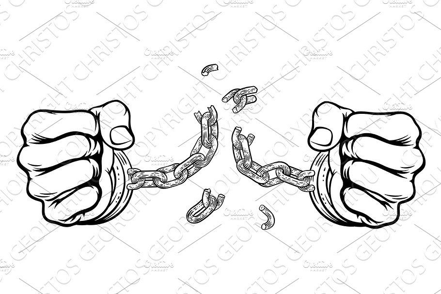 Hands Breaking Chain Shackles Cuffs Ad Breaking Chain Hands Fists Broken Chain Hand Fist Rope Art