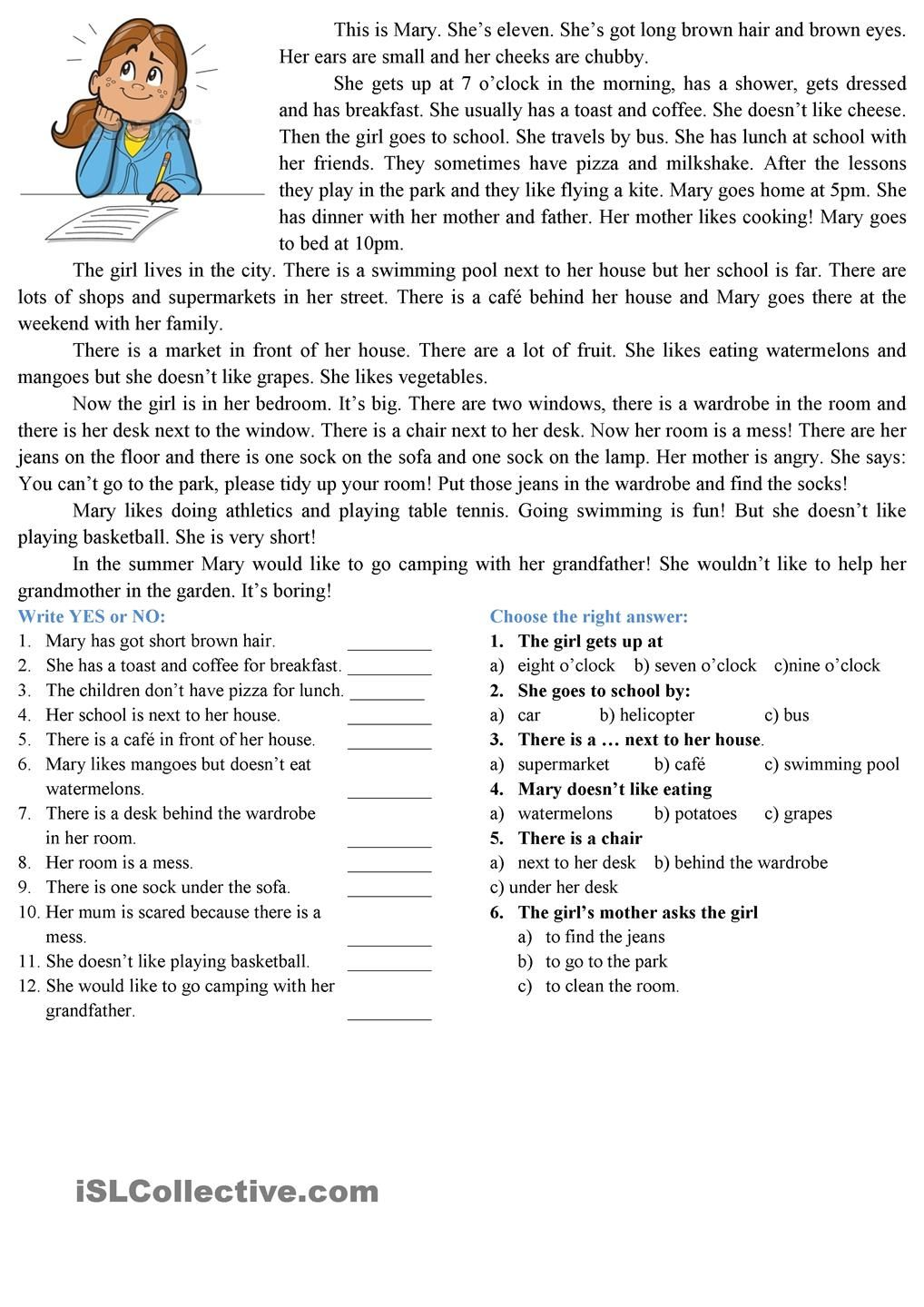 Worksheets Reading Comprehension Printable Worksheets reading comprehension esl worksheets of the day pinterest comprehension