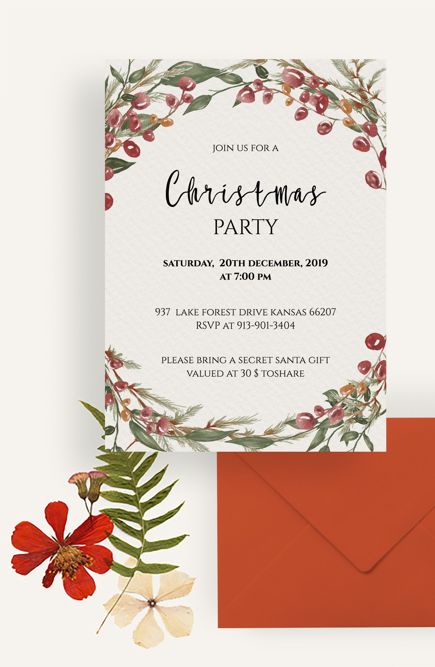 Berry Christmas Card Downloadable Christmas Card Christmas Etsy Christmas Card Template Christmas Invitation Card Creative Christmas Cards