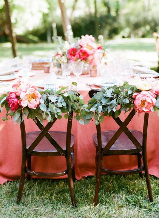 Outdoor Wedding Chair Decoration Ideas With Flowers And Leaves