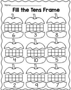 Fill the tens frame center activities and practice sheets