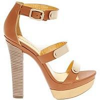 Beige and Brown Leather Platform Strap Sandal