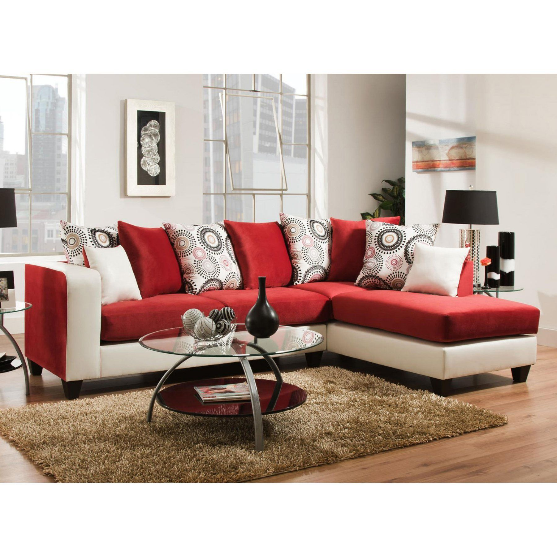 Chelsea Home Furniture Ame Sectional Stark White 424124 10 Sec