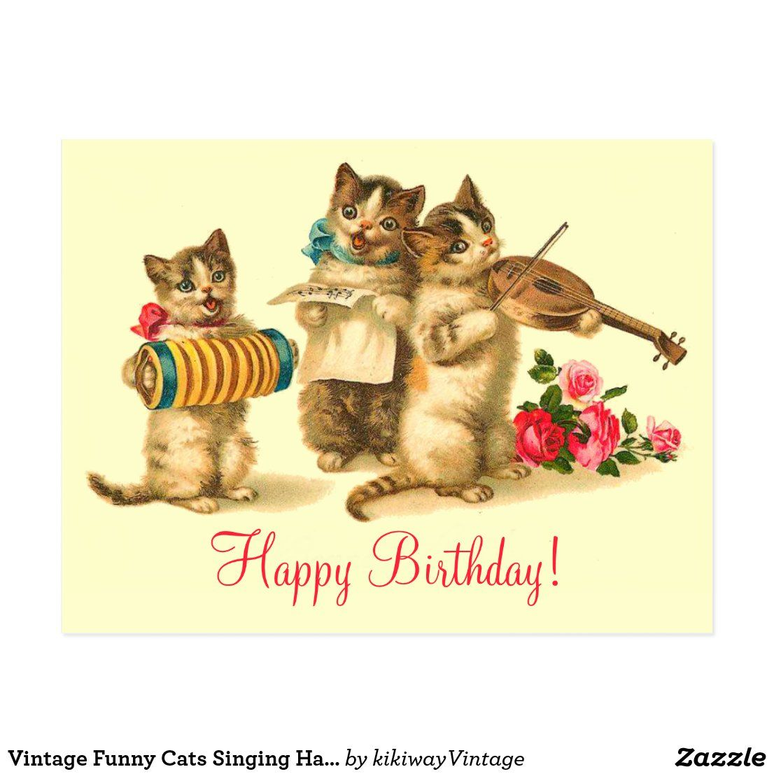 Pin By Sabine Wolf On Birthday Card Happy Birthday Cat Singing Happy Birthday Birthday Postcards