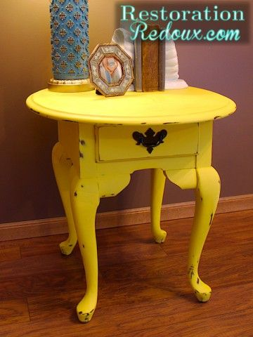 Bright yellow chalk painted side table coastal cottage for Yellow painted table