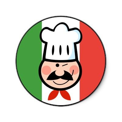 Italian Chef Round Stickers