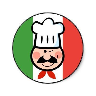 Italian Chef Round Stickers
