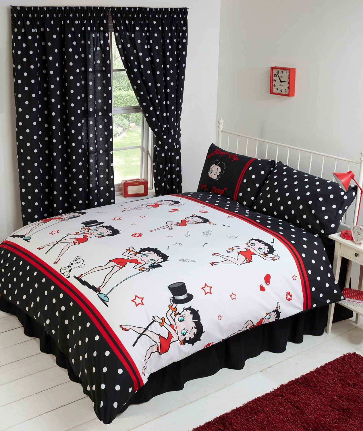 einzelbett betty boop bettw sche polka dot schwarz wei rot polka dots pinterest. Black Bedroom Furniture Sets. Home Design Ideas