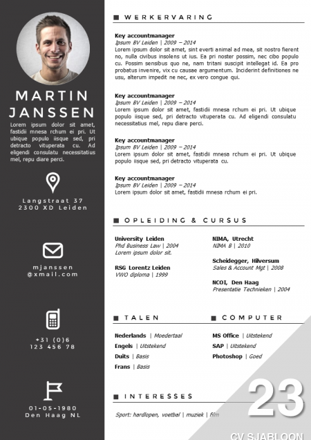 Cv Sjabloon   Cv Examples Cv Template And Template