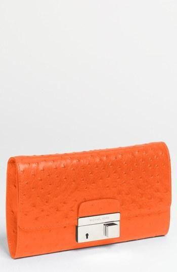 72f565e9bd8fd Bright! Michael Kors Ostrich Embossed Leather Clutch | CSUF GRAD ...