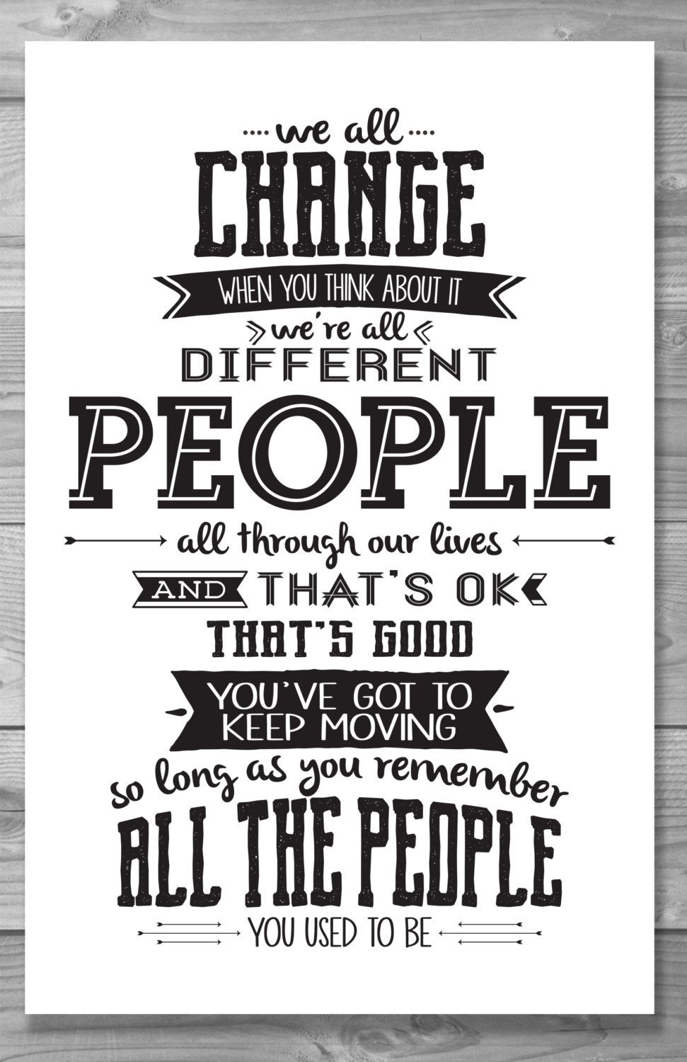 Doctor Who Quotes About Love Doctor Who We All Change Typography Quote Postershaileyann