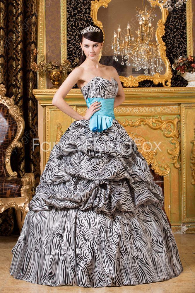 Unique Sweetheart Neckline Ball Gown Floor Length Zebra Quinceanera Dresses  $198.00