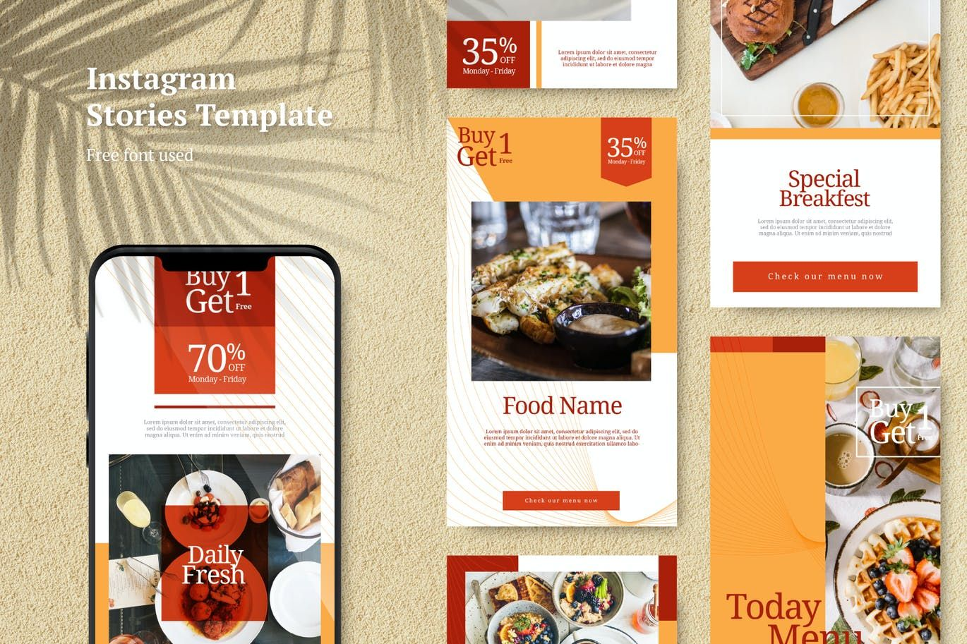Food Instagram Stories Template Ai Eps In 2020 Instagram Story Template Story Template Instagram Food