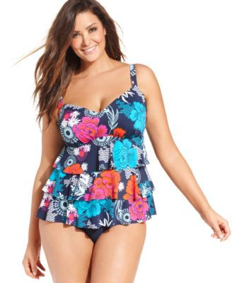 d54db9fc832 Swim Solutions Plus Size Exotic-Print Tiered Tankini Top | Bathing ...