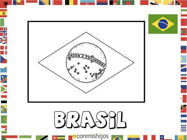 Niños De Paises Para Pintar: Bandera De Brasil. Dibujos De Banderas Para Pintar