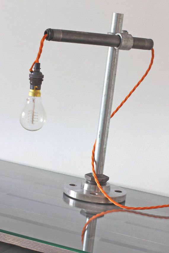urban industrial iron and galvanised steel pipe desk light with hand rh pinterest es