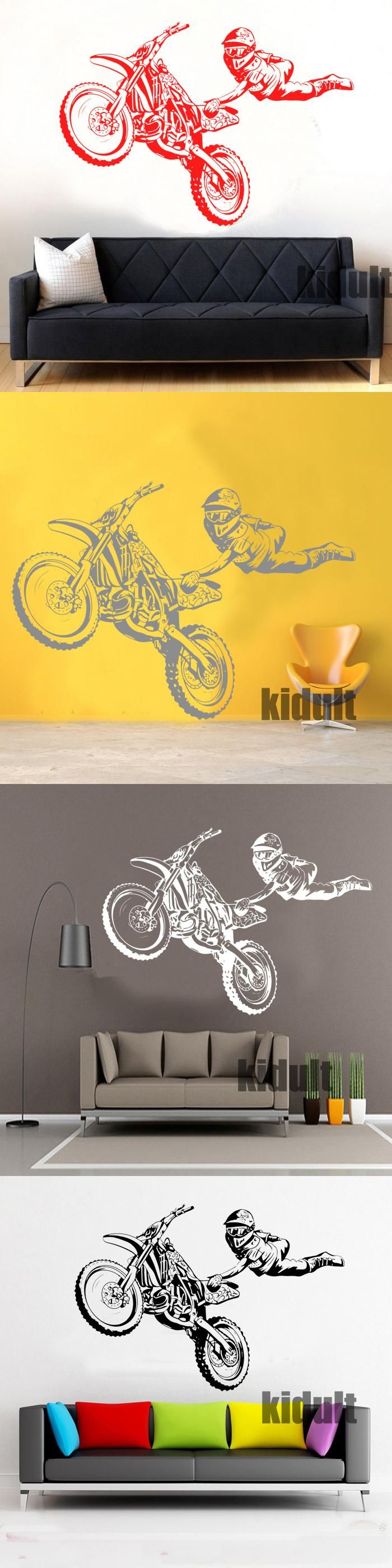 Motorcycle Wall Stickers Creative Performance Speed Bedroom Home ...