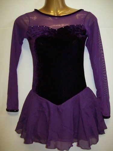 34afa9c2452d81 Purple Paradise Skating Dress - Beautiful purple velvet and sheer chiffon  with crystals! Adult sizes. $45.99!