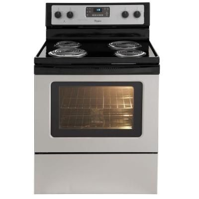 Whirlpool 4 8 Cu Ft Electric Range With Self Cleaning Oven In Stainless Steel Wfc310s0as Self Cleaning Ovens Electric Range Gas Range
