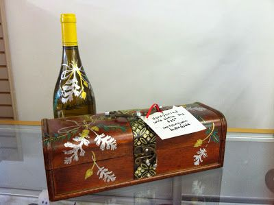 Hand painted wine box with matching bottle of wine. This would be a perfect house warming or hostess gift. Offered to you by CJ Studios fo...