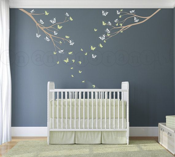 Tree Wall Decal Two Branches and Butterflies Custom Baby Nursery