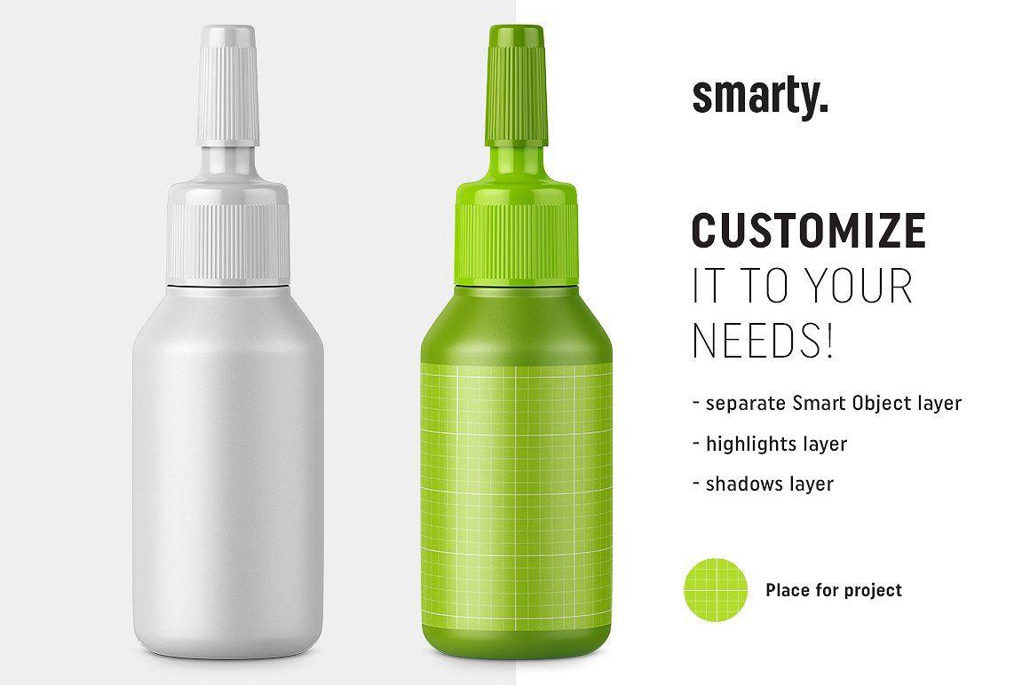 Plastic Ampoule Bottle Mockup Label Layer Smart Object