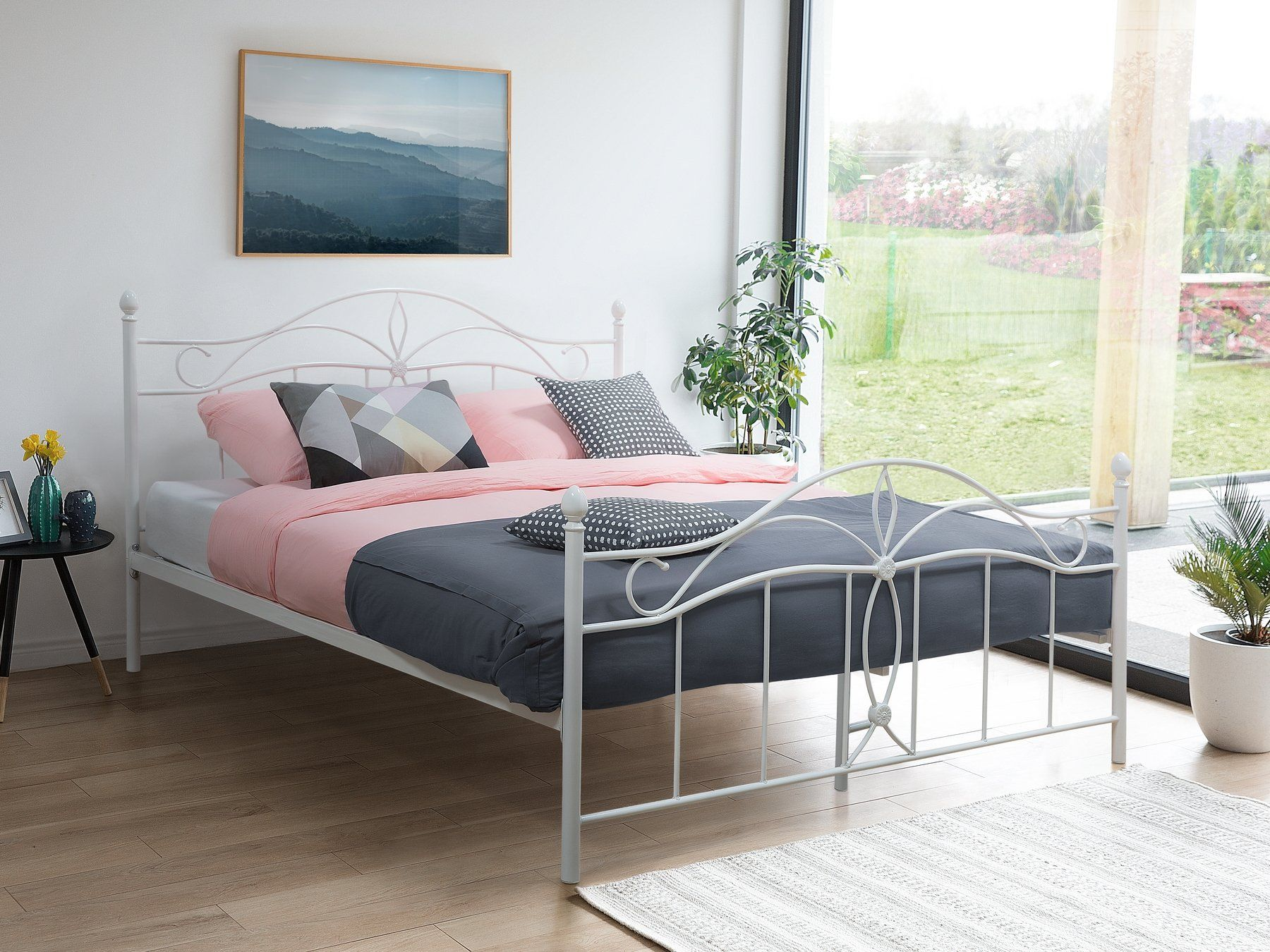 Metal EU King Size Bed White ANTLIA King size bed frame
