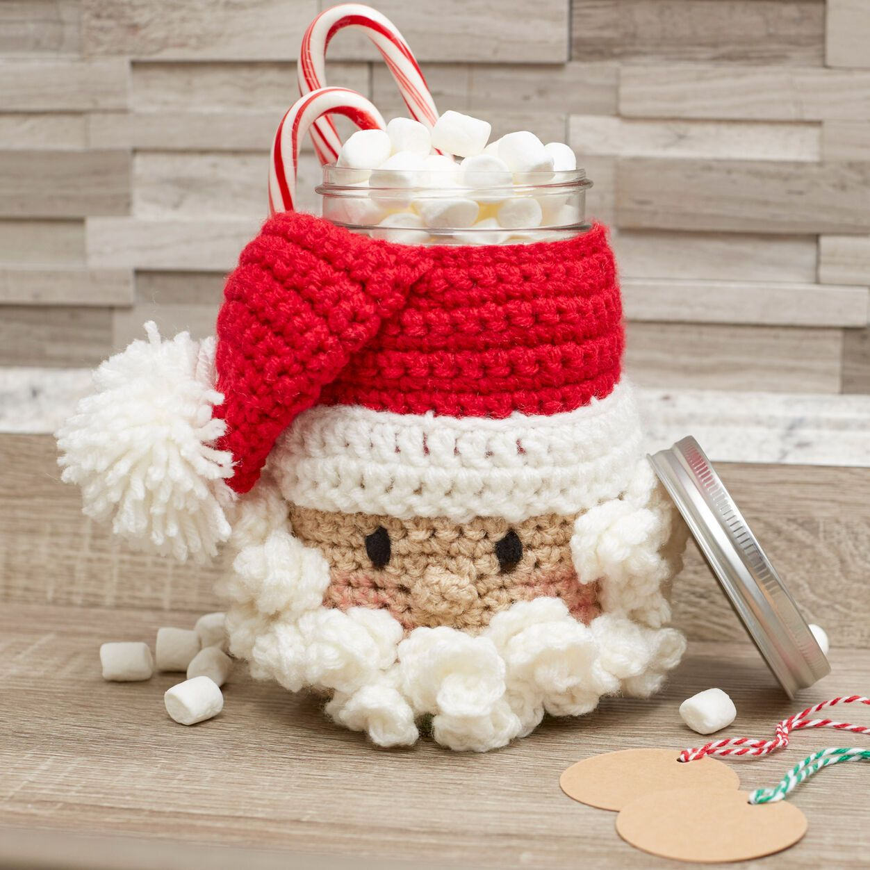 Red Heart Santa Candy Jar With Images